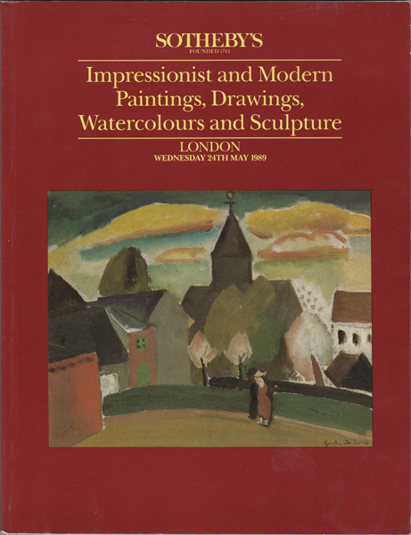 Impressionist and Modern Paintings, Drawings, Watercolours and Sculpture. London Wednesday 24th May 1989. Sotheby's.