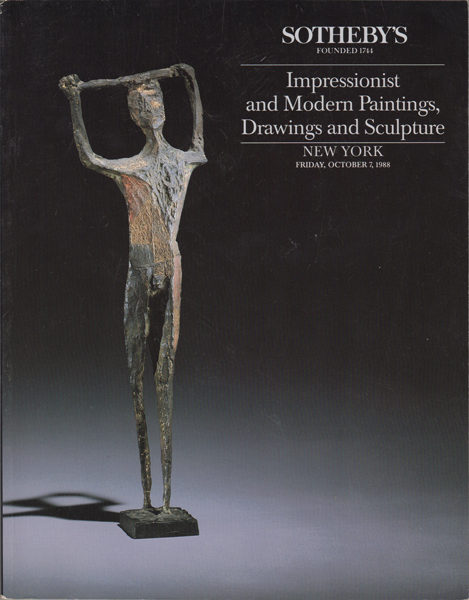 Impressionist and Modern Paintings, Drawings and Sculpture. New York Friday, October 7, 1988. Sotheby's.