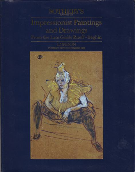 Impressionist Painting and Drawing From the Late Gisele Rueff-Beghin. London. Tuesday 29th November 1988. Sotheby's.