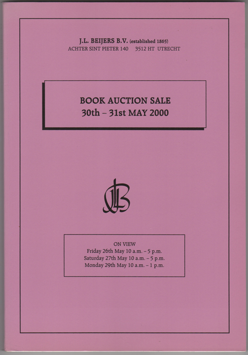 Book Auction Sale. 30- 31st May 2000. J. L. Beijers.