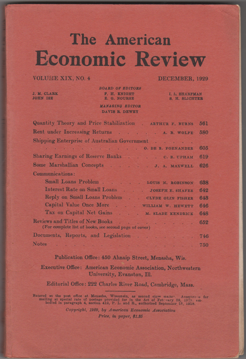 """""""Quantity Theory and Price Stabilization,"""" in The American Economic Review, Volume XIX, No. 4, December 1929. Arthur F. Burns, Frank."""