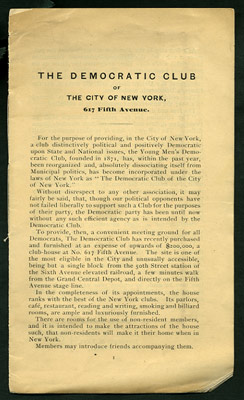 The Democratic Club of the City of New York, 617 Fifth Avenue. Democratic Club of the City of New York.