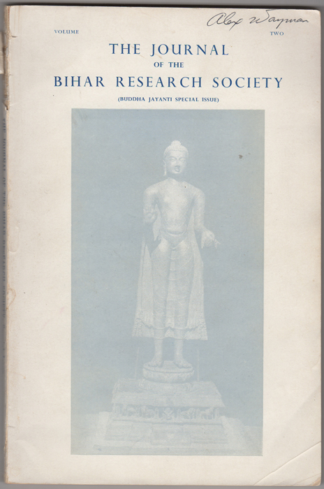 The Journal of the Bihar Research Society. Buddha Jayanti Special Issue. Vol. II [only]. Bihar Research Society.