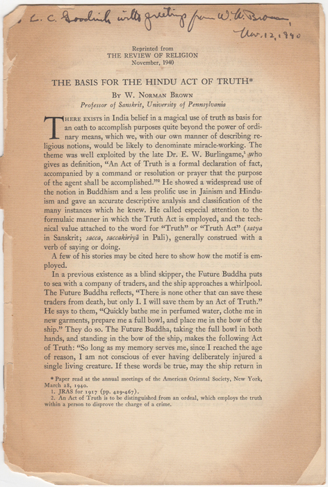 """""""The Basis for the Hindu Act of Truth,"""" [Reprinted from] The Review of Religion, V, 1940. W. Norman Brown."""