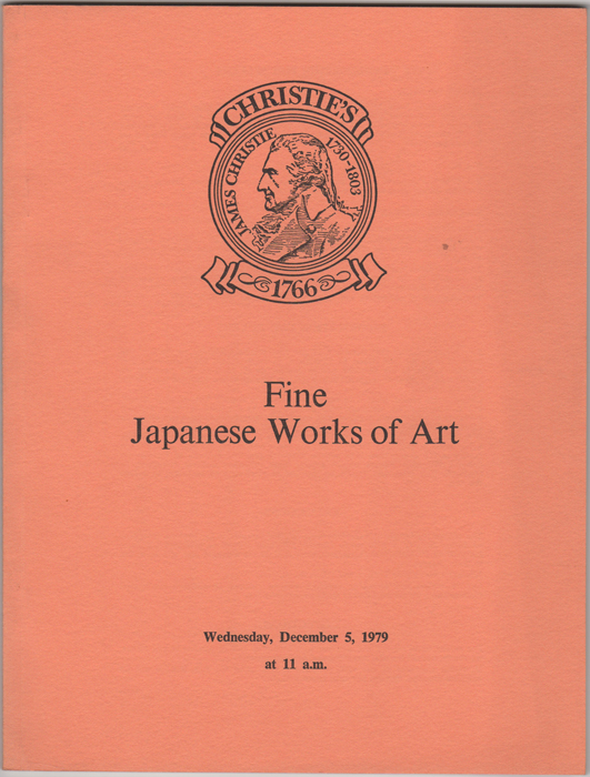 Fine Japanese Works of Art. Japanese Porcelain, Pottery (plus an interesting group of contemporary wares) Shibayama-style Works of Art, Lacquer, Bronzes and other Metalwork from the property of Lt. Col. R.F. Wright. December 5, 1979. Manson Christie, Woods.