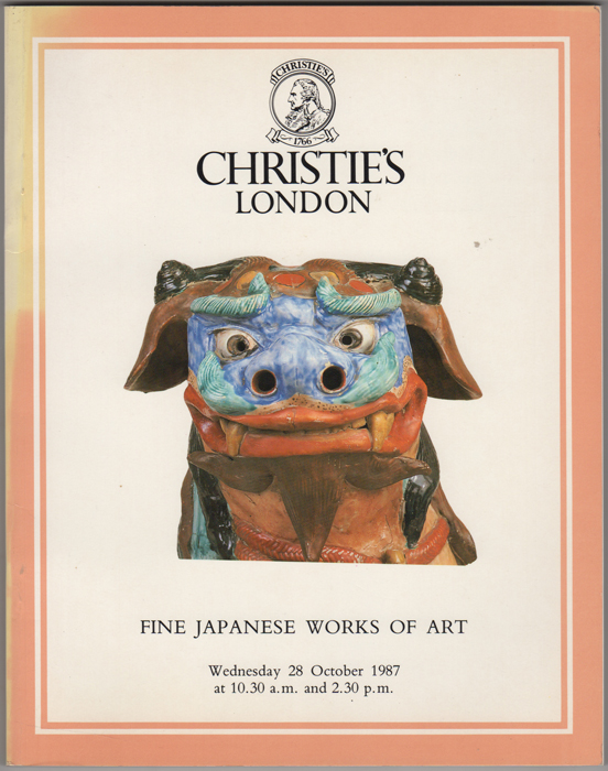 Fine Japanese Works of Art. Japanese Inro, Lacquer, Ceramics, Cloisonne Enamel, Shibayama, Bronzes, Okimono, Prints, Paintings, Illustrated Books, Screens, Swords and Sword Fittings. 28 October, 1987. Manson Christie, Woods.
