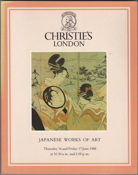 Japanese Works of Art. Japanese Ceramics, Bronzes, Shibayama, Furniture, Cloisonne Enamel, Okimono, Lacquer, Inro, Netsuke, Prints, Paintings, Illustrated Books, Swords, Sword Fittings and Armour. 16 June and 17 June, 1988. Manson Christie, Woods.