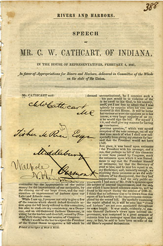 Rivers and Harbors. Speech of Mr. C.W. Cathcart, of Indiana, in the House of Representatives, February 4, 1847, in Favor of Appropriations for Rivers and Harbors, delivered in Committee of the Whole on the state of the Union. C. W. Cathcart, Charles William.
