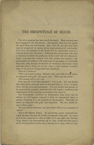 The Omnipotence of Silver. C. C. Goodwin, Charles.