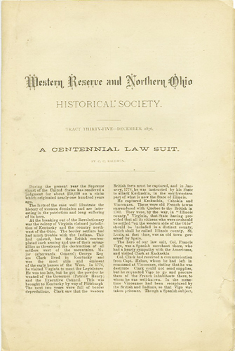 A Centennial Law Suit. Western Reserve and Northern Ohio Historical Society. Tract Thirty-Five. December 1876. C. C. Baldwin.