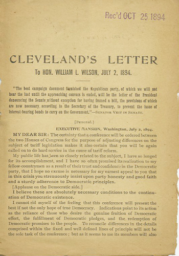 Cleveland's Letter to Hon. William L. Wilson, July 2, 1894. Grover Cleveland.