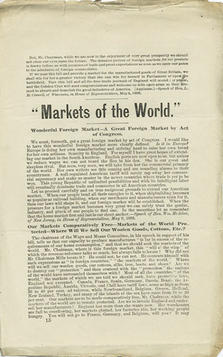 """Markets of the World."" Free Trade."