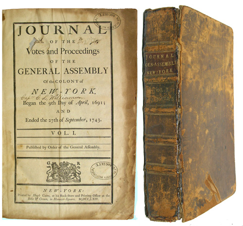 Journal of the Votes and Proceedings of the General Assembly of the Colony of New York Began the 9th day of April, 1691; and Ended the 27th day of September, 1743. Vol. I. Published by Order of the General Assembly. New York. General Assembly of the Colony of New York.
