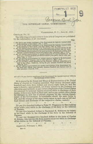 The Isthmian Canal Commission. Circular No. 51. Washington, D.C. June 30, 1913. Isthmian Canal Commission.