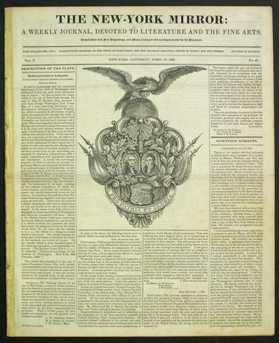 The New-York Mirror: A Weekly Journal, Devoted to Literature and the Fine Arts. Vol. X. No. 43. Saturday, April 27, 1833. Gilbert Du Motier Lafayette, marquis de, James Fennimore. New-York Mirror Cooper.