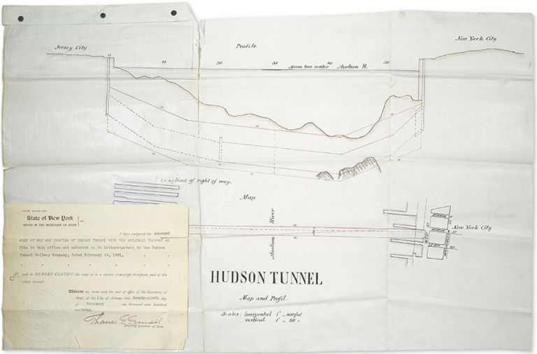 Hudson Tunnel Map and Profil [sic]. [Profile of the first tunnel under the Hudson River, with Certificate]. New York City, Office of the Secretary of State. Hudson Tunnel Railway Company.