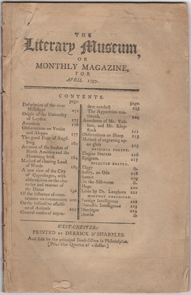 The Literary Museum, or Monthly Magazine, for April 1797. American Periodicals.