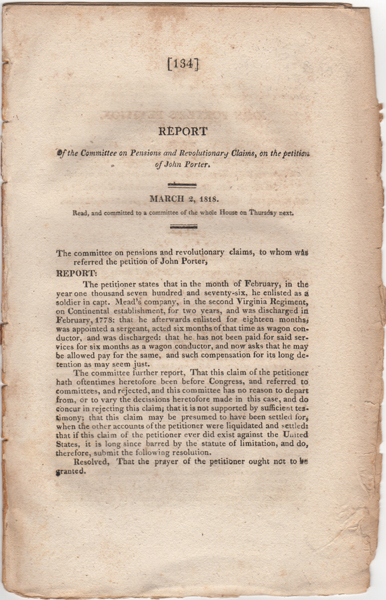 Report of the Committee on Pensions and Revolutionary Claims, on the petition of John Porter. March 2, 1818. Read, and committed to a committee of the whole House on Thursday next. United States. Congress. House of Representatives.