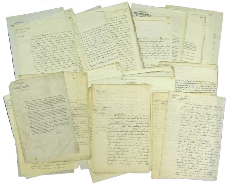 Archive of 47 Mexican Manuscript and Printed Documents -Laws, Decrees, Circulars- from the Ministry of War and Navy: June - December 1853. Antonio López de. Jose Maria Tornel y. Mendivil Santa Anna, Juan Suárez y. Navarro, Lino J. Alcorta.