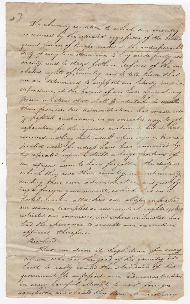 [Manuscript Document] Resolves Criticizing British Aggression in the Years Leading to War of 1812 and Nominating Daniel Tompkins and John Broome as Governor and Lt. Governor. War of 1812. New York.