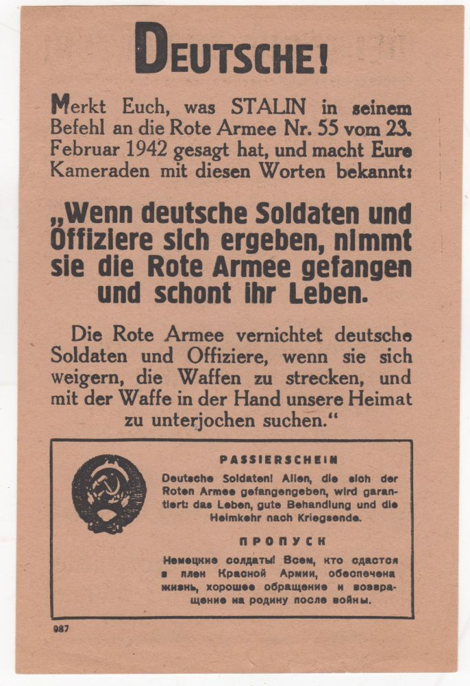 [Red Army World War II Propaganda Leaflet]. Krasnaia armiia.
