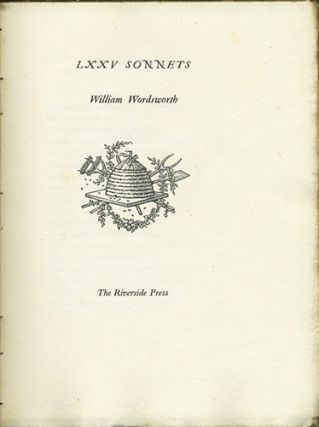 LXXV Sonnets. William Wordsworth, designer Bruce Rogers