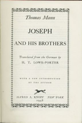 Joseph and His Brothers. Thomas Mann
