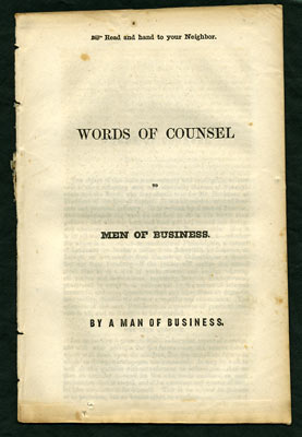 Words of Counsel to Men of Business. By a Man of Business. James; Reed Buchanan, attributed, William Bradford.