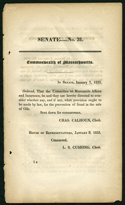 An Act for the Prevention of Frauds in the Sale of Oils. Commonwealth of Massachusetts....