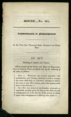 An Act Relating to Agents and Factors. House...No. 164. Commonwealth of Massachusetts. Massachusetts