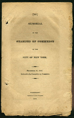 Memorial of the Chamber of Commerce of the City of New York. December 27, 1819. Referred to the...