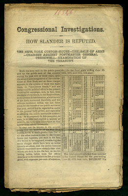 Congressional Investigations. How Slander is Refuted. The New York Custom-House -- The Sale of...
