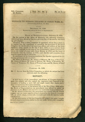 Pensions to Persons Engaged in Indian Wars, etc. [To Accompany bill H.R. No. 353.]. Chilton Allan.