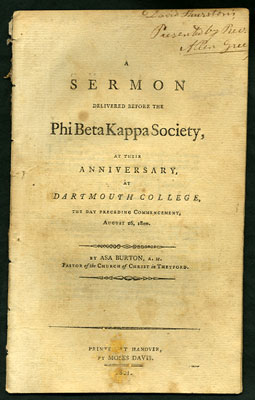 A Sermon Delivered before the Phi Beta Kappa Society, at their Anniversary, at Dartmouth College,...