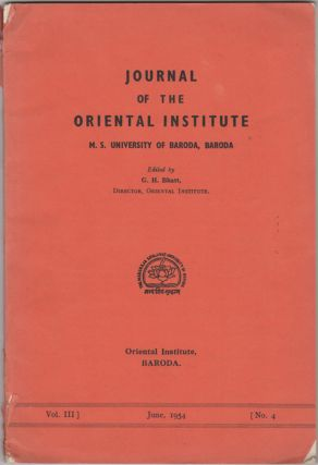 Journal of the Oriental Institute. M.S. University of Baroda, Baroda. Vol. III, No. 4, June,...