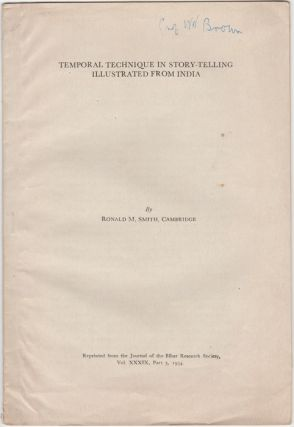 """Temporal Technique in Story-Telling Illustrated from India,"" Reprinted from Vol. XXXIX, Part 3,..."