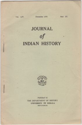 """Suttee: A Study in Western Reactions,"" [from] Journal of Indian History. Vol. LIV. December..."