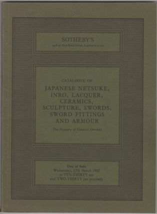Catalogue of Japanese Netsuke, Inro, Lacquer, Ceramics, Sculpture, Swords, Sword Fittings and...