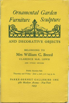 Ornamental Garden & Terrace Furniture, Sculpture, Decorative Objects. June 4 and 5, 1953....