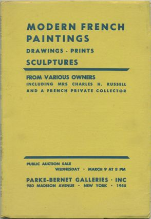 Modern Paintings, Drawings and Prints. ... Modern Sculptures. March 9, 1955. Parke-Bernet Galleries
