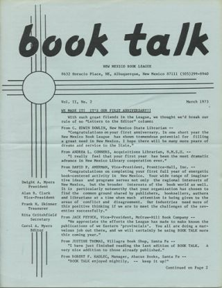 Book Talk. Vol. II, No. 2. March 1973. New Mexico Book League