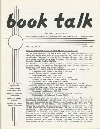 Book Talk. Vol. IV, No. 1. March 1975. Best of Southwestern Books of 1974. New Mexico Book League