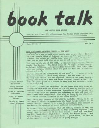 Book Talk. Vol. IV, No. 2. May 1975. New Mexico Book League