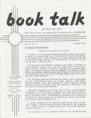 Book Talk. Vol. V, No. 1. February 1976. New Mexico Book League
