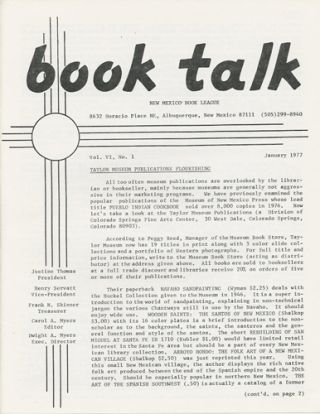 Book Talk. Vol. VI, No. 1. January 1977. New Mexico Book League