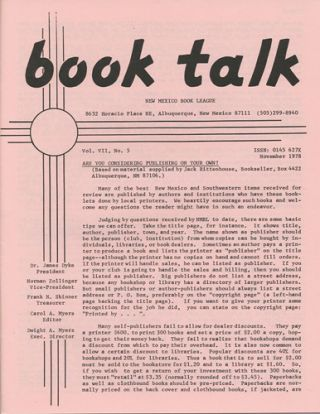 Book Talk. Vol. VII, No. 5. November 1978. Are you Considering Publishing on your own? New Mexico...
