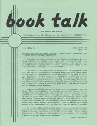 Book Talk. Vol. VIII, No. 2. March 1979. Writer's Oasis on the Llano Estacado. New Mexico Book...