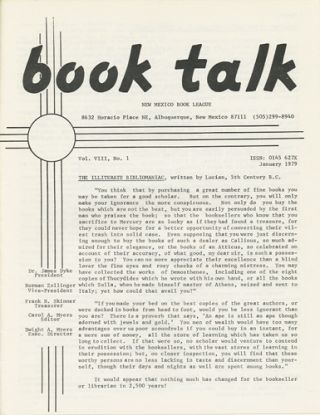 Book Talk. Vol. VIII, No. 1. January 1979. The Illiterate Bibliomaniac. New Mexico Book League
