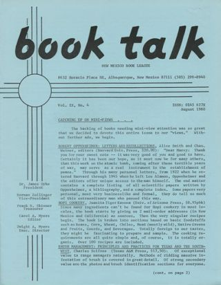 Book Talk. Vol. IX, No. 4. August 1980. New Mexico Book League