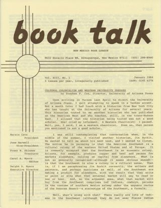 Book Talk. Vol. XIII, No. 1. January 1984. Cultural Colonialism and Western University Presses....